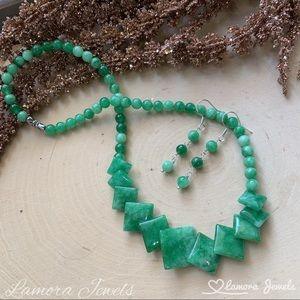 Green Jade earrings necklace Jewelry Set